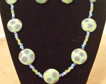 Polka Dot Necklace - Spring Colors - Green - Blue - Purple - Pale Color Necklace - Spring Jewelry Set - Necklace - Earrings - Womens Jewelry