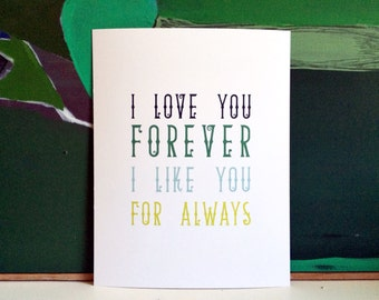 Quote art, Quote print, Quote wall art, Nursery art, Nursery print, Nursery boy, I LOVE YOU FOREVER, I like you for always