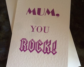 Handmade unique and alternative birthday Mothers Day greetings card mum