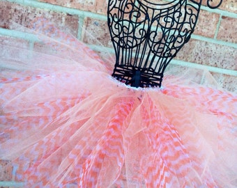 Tutu with Orange and White Striped Tulle