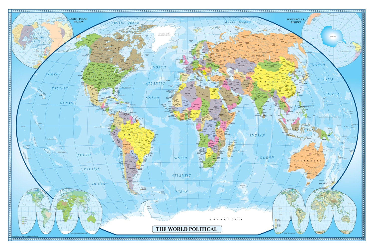 Swiftmaps world classic executive wall map poster mural wall for Executive world map wall mural