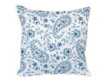 Navy Blue Paisley Pillow - 18x18 - Blue, Navy, Paisley, Pillow Included, 1090P