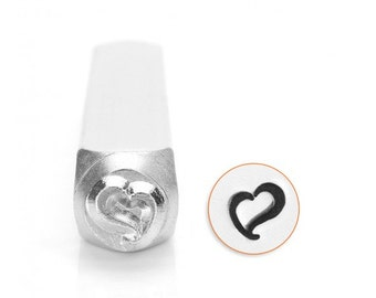 Swirly Heart Metal Design Stamp 6mm - ImpressArt - Large Cute Heart Design with Flair