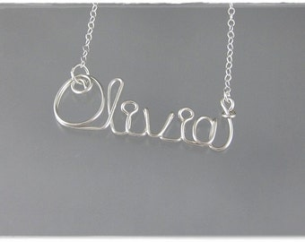 Olivia Wire Word Name Pendant Necklace