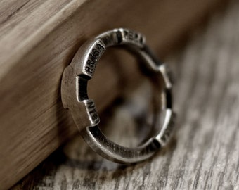 quotes ring, rustic ring, industrial ring, vintage ring, word ring, latin ring, silver ring, quote ring