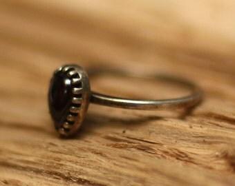 garnet ring , stacking ring, cute ring, stone ring, birth stone, thin silver ring, stack ring, silver ring,tear drop ring
