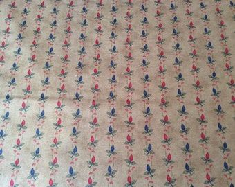 "On Sale- Moda Fabric ""Harmony"" by Jan Patck - One Yard Cut - tan, red buds, blue buds"