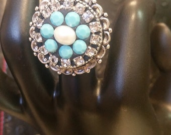 Statement Ring, Clear and Blue Crystals One-of-a-kind, multi-medium/vintage/accessories