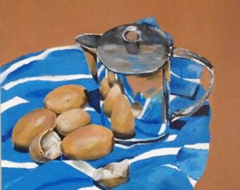 still life painting, original painting, acrylic painting, eggs and a jug, 24x24 canvas, Bradley Pearson