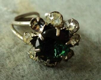 Vintage metal & paste stones ring
