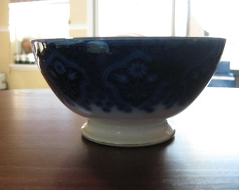 "FLOW BLUE Made in  Germany 6"" Footed Bowl"