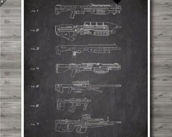 Master Chief weapon poster, Master Chief weapon patent, Master Chief weapon print, Master Chief weapon art, Halo Video Game Geek Decor no108