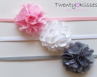 Photo prop,baby headband SET,newborn flower headband,newborn set,pink,white ,baby headband,flower headband baby,floral headband newborn