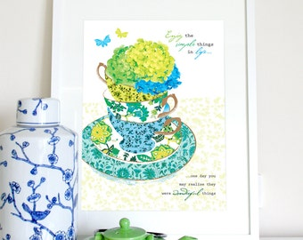 Teacup kitchen print with hydrangeas, kitchen poster, kitchen art, teacup print, teacup poster, blue aqua green teacup illustration