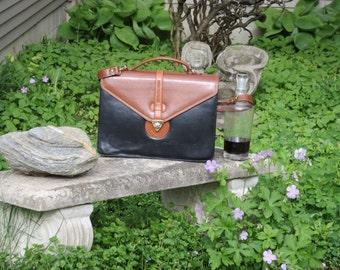 Moda Italiana Flap Over Double Gusset Briefcase In Rich Black and Tan Leather With Brass Diamond Turn Lock