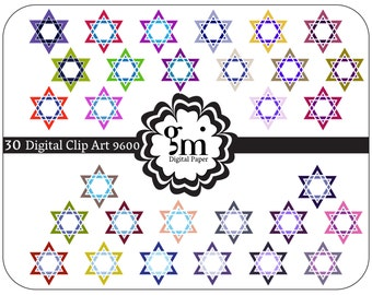 Star of David Clipart, Star of David Clip Art, Star of David, Magen David, Digital Star of David, Instant Download, Jewish Clip Art
