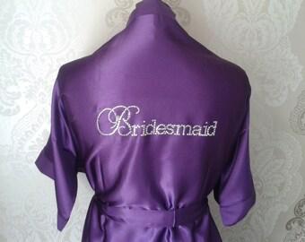 Bling Satin Plus Size Purple Bridal Party Robe - Rhinestone Bridal Robe - Satin Robe - Bride, Bridesmaid, Diamantes