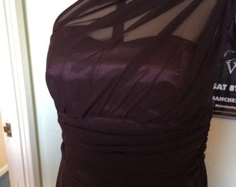 Handmade Purple Bridesmaids Dress, Chiffon Overlay, available in all sizes