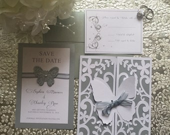 Elegant Butterfly Wedding Invitation Set with Save the Date and RSVP response card Custom Made