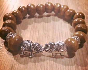 Wood with elephant bracelet