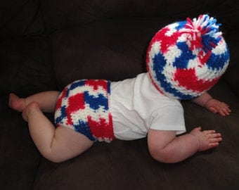 Crochet Set: Baby Beanie Hat with Matching Diaper Wrap (Patriotic - Red, White & Blue)