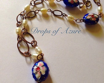 """Cloissonne and Freshwater Pearls with Copper Colored Links. 18"""" in length. Adjustable."""