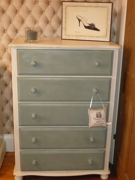 Upcycled Shabby Chic Chest Of Drawers Finished With Duck Egg