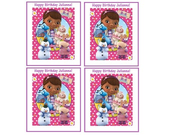 8 Printed Personalized Doc McStuffins Party Bag Labels, Birthday Stickers