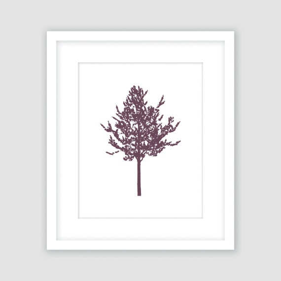 Purple Eggplant Aubergine Kitchen Wall Decor Poster: Eggplant Purple Poplar Tree On White Print Wall Art