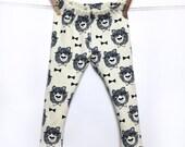 Leggings, bear with glasses, off-white, hipster baby, stylish baby clothes, hipster baby clothes, organic baby clothes, baby clothing