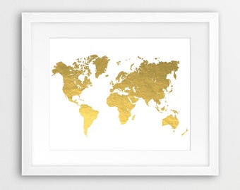 World map grey printable file world map silhouette neutral world map gold printable file world map silhouette gold foil texture modern wall art gumiabroncs Gallery