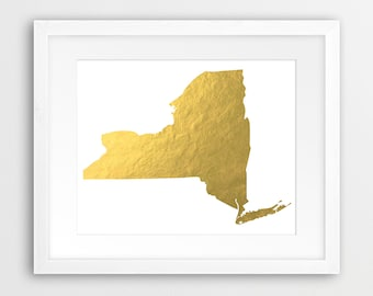 New York State Map Printable File, USA State New York Silhouette Gold Foil Texture - Modern Wall Art Home Office Decor Digital Print