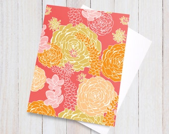 Desert Flora Blank Card - floral pretty flowers beautiful bright red pink yellow orange girly colorful greeting card, gift card