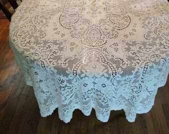 """1 BEAUTIFUL Vintage LACE CURTAIN Panel ~ Roses Pattern ~ 75"""" L x 45"""" W"""