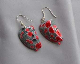 Red and Grey Paper Mache Earrings bout 1.5 inches long
