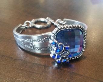 Square Blue Stone Spoon Bracelet
