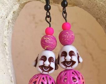 Pink Buddha Love- Handmade Dangle Earrings