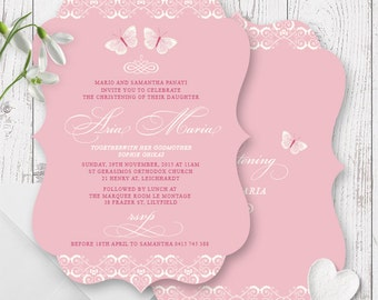 Vintage Butterfly Pink & Cream Girl Baptism Christening Invitations | Die Cut Scallop Shape, Free Colour Changes | Peach Perfect Australia