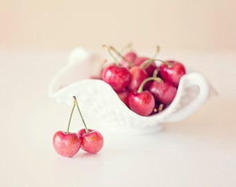 Food Wall Art, Country Wall Decor, Country Kitchen Art, Kitchen Art Print, Red Kitchen Art, Cherry Photo, Country Decor, Food Wall Decor