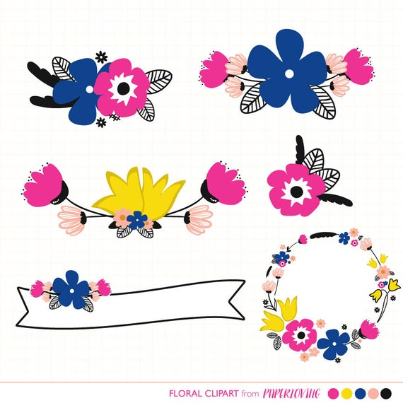 Bright Floral Clipart Graphics Floral Wreath Banner
