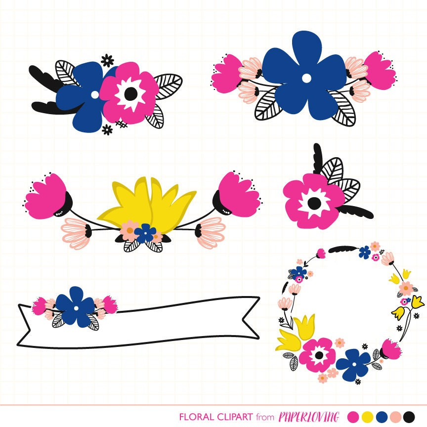 Bright Floral Clipart Graphics: floral wreath banner