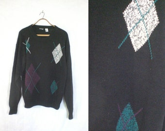 mens argyle sweater size xl. 80s sweater mens xl. cotton sweater. mens sweater xl. argyle diamond pattern 1980s