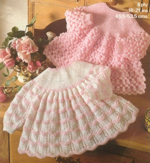 Knitting Patterns For Baby Dresses : Items similar to Knit Baby Dress Vintage Knitting Pattern 18-21 inch chest Sw...