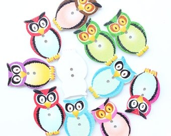 Owl buttons wooden x 15