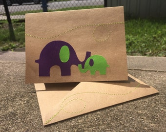 Elephant Mothers Day/Mother and Child Handmade Greeting Card