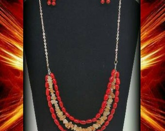 Red Coral & Aventurine Crystal  Necklace + Earrings Set