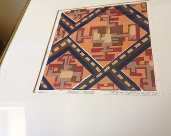 1979 abstract serigraph art print by Nancy Powell limited edition