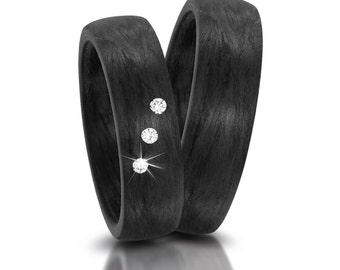 Einzigartige schwarze Carbon Ringe / Trauringe / Partnerringe