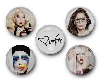 Lady Gaga - Set of 5 Glass Magnets - artpop, art pop, monster, mother monster, applause, paparazzi, edge of glory, born this way, Germanotta