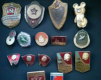 Set of 16 vintage Soviet pins .